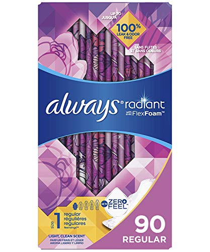 Always Radiant Feminine Pads for Women Size 1 90 Count Regular Absorbency Light Clean Scent 30 Count Pack of 3  90 Count Total