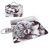 COOSUN Manta de picnic con diseño de lobo, resistente al moho y resistente al agua, para...