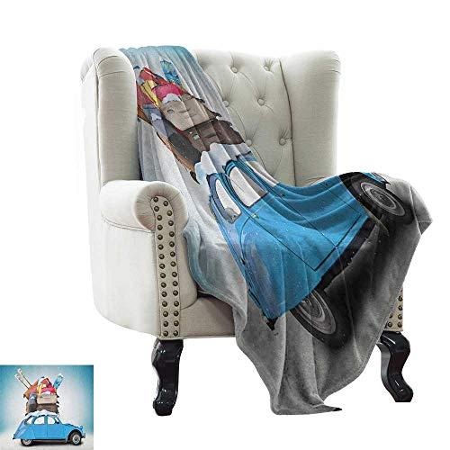 LsWOW - Manta de picnic para el invierno, diseño tradicional escandinavo inspirado en tejidos, diseño de copos de jacquard, color azul y blanco, con peso para adultos y niños, mejor sueño más profundo