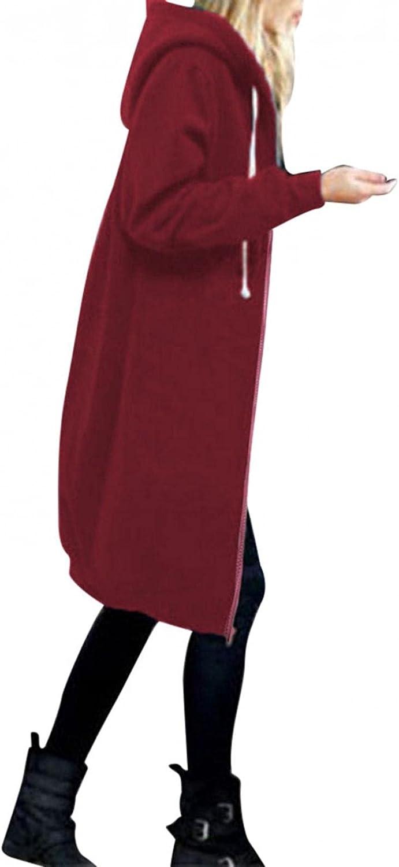 Zipper Hoodie Long Coat,Winter Warm Zipper Open Hoodies Sweatshirt Long Coat Jacket Tops Outwear