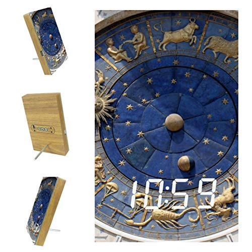 nakw88 Reloj Venecia Arquitectura Monumento Dormitorios Despertador Digital Mesita de noche Reloj despertador LED con puerto USB para cargar, Oficina y Decoración del Hogar Reloj