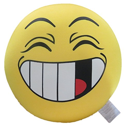 Cute Squishy Face Microbead Pillow - Tache Have a Nice Day - Round Decorative Yellow Woopy Smiley Crazy Emoji Throw Lounge Toss Fight Cushion