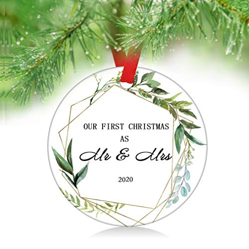 ZUNON Our First Christmas as Mr & Mrs Ornament Our First Christmas Married Ornament Newlywed Christmas Ornament Wedding Ornament Leaves (Green Mr & Mrs)