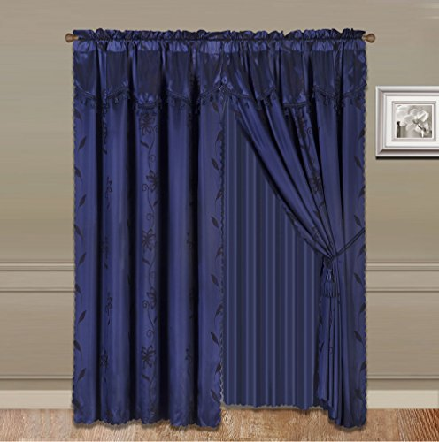 Jody Clarke Shiny 999 Curtain Set Rod Pocket Drapes Floral Design Curtain 2pc Panel Window Curtain Set with Valance, Sheer Backing and 2 Tassels Leaf Design(Navy,2pc 54x84 (108x84))