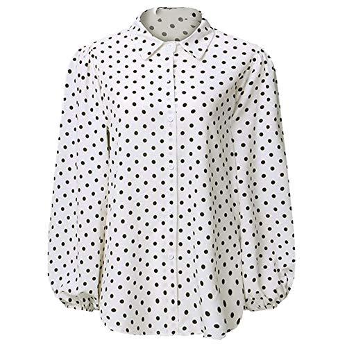 U/A Mujeres Dot Blusas Otoño Manga Larga Linterna Solapa Cuello Elegante Camisa Oficina Señoras