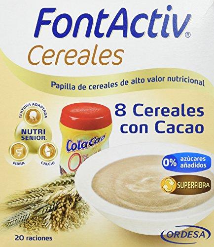 FontActiv Cereales con Cacao 600grs papilla de cereales de alto valor nutricional adaptada a las necesidades y requerimientos de adultos y personas mayores.