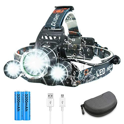 Rechargeable Headlamp,OUTERDO 3 LED Headlamp 4 Modes 30000 Lumens Super Bright with USB Cable 2 Batteries,120° Adjustable Lightweight Waterproof LED Head Light for Camping Fishing,Car Repair,Outdoor
