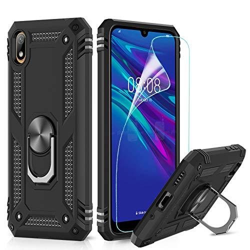 LeYi Hülle für Huawei Y5 2019 / Honor 8S Handyhülle,360 Grad Militärische Rüstung Cover TPU Magnetische Bumper Schutzhülle mit HD Folie Schutzfolie für Case Huawei Y5 2019 Handy Hüllen Schwarz