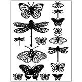 Silikonstempel, Vintage Libelle Schmetterling Transparent Klar Silikon Stempel Blatt Scrapbooking Fotoalbum DIY Weihnachten Valentinstag Thanksgiving Geschenke