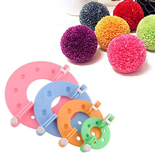 Febbya Pom Pom Maker,8 Piezas Pompom Que Hace la Herramienta Diferentes tamaños para Hacer Punto de Lana Craft DIY Pompom Fluff Balls
