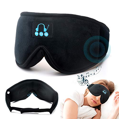 Bluetooth Headphones Built in Eye Masks, Sleeping Headphones Wireless Music Masks Sleep Aid Travel Accessories Gadgets Gift