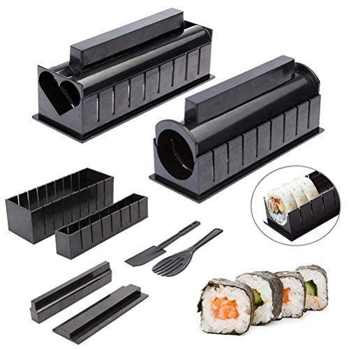 CaCaCook Sushi Maker Kit, 10 pezzi fai da te Sushi Making Kit Roll Sushi Maker Stampo per rotoli di riso, Sushi Bazooka Vegetable Meat Rolling Tool DIY Sushi Making Machine Accessori cucina Strumento