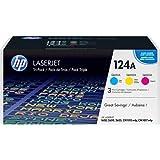 HP Q6001A Q6002A Q6003A 124A CM1015 CM1017 Color LaserJet 1600 2600 2605 (Cyan Yellow Magenta, 3-Pack) in Retail Packaging