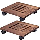 """GeBot 12"""" Inch Rolling Wooden Planter Caddy Potted Plant Stand with Wheels Round Flower Pot Rack Indoor Outdoor Planter Trolley with 360° Rotating Casters Rolling Tray Coaster Garden Pot Dolly"""