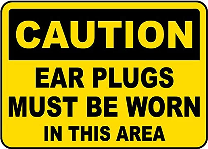 Traffic Signs - Caution Ear Plugs Must Be Worn Sign 10 x 7 Aluminum Sign Street Weather Approved Sign 0.04 Thickness