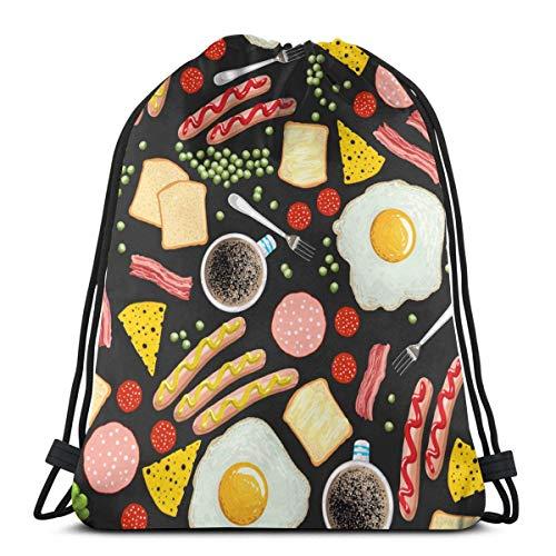 Spiegeleier, Kaffee, Speck, Toast, Würstchen. Kordelzug Rucksack Tasche Sport Sack Sport Beach Daypack