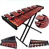 MSHK 37 Note Wooden Xylophone Percussion, 3 Octaves with 2 Mallets,Stand and Bag - Rosewood