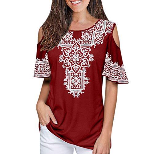 Xmiral Abbigliamento Donna Tshirt,Maglietta Donne Manica Taglie Forti Spalla Nuda Tops Pizzo Manica Cime Camicie Camicetta Blusa Sciolto Estate Elegante Casual M Rosso