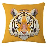 Throw Pillow Cover Decorative Durable Cushion Cover 18 x 18 Pillow Case Abstract Vivid Tiger Head Geometric Triangle Diamond Hidden Zipper Home Decor Spring Summer Sofa Couch Bedroom Living Room