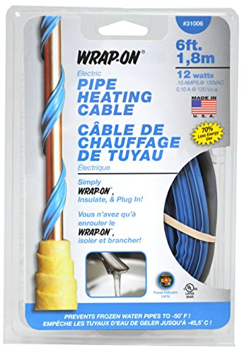 Wrap-On Pipe Heating Cable - 6-Feet, 120 Volt, Built-in Thermostat, Low Wattage - 31006