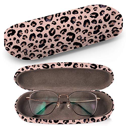 Art-Strap Funda rígida para gafas, estuche de gafas de sol, caja de plástico, funda de gafas con paño de limpieza para gafas, diseño de leopardo, color negro, gris y beige