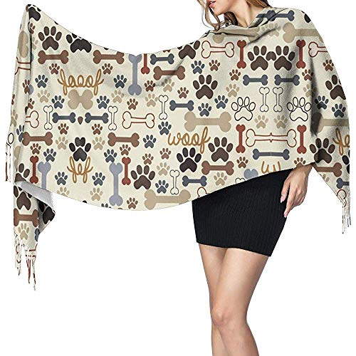 Regan Nehemiah hond pootafdrukken botten dames winter warme sjaal mode lange grote zachte kasjmier sjaal wikkelsjaal