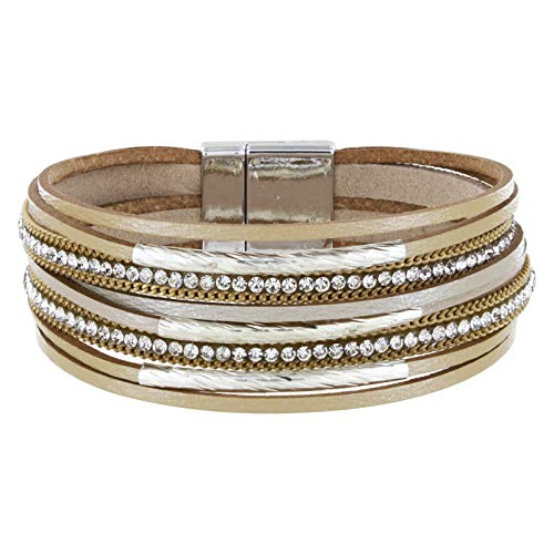 StarAppeal Armband Lederarmband mit Strass, Ketten und Schmuckelementen, Magnetverschluss Silber, Damen Armband (Gold)