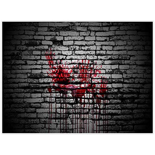 Allenjoy 8x6ft Bloody Brick Wall Backdrop for Halloween Portrait Photography Backdops Background Vintage Splatter Dripping Blood Dark Horror Scary Pictures Party Decorations Decor Photo Studio Booth