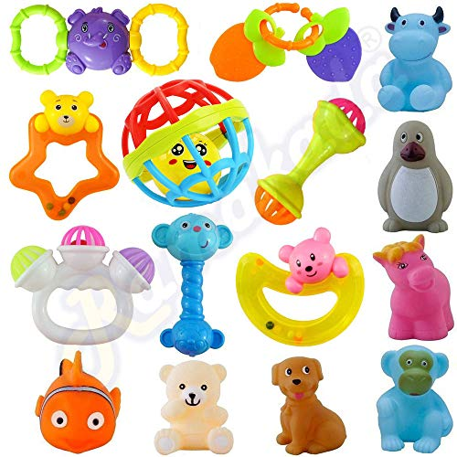 Ramakada 15 Pcs Set of Rattles, Teethers and Animal Shape Bath Toys Non Toxic BPA Free for Babies (Multicolor)