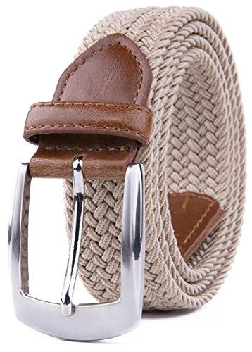 Elastic Fabric Woven Stretch Braided Belts (L, Beige)