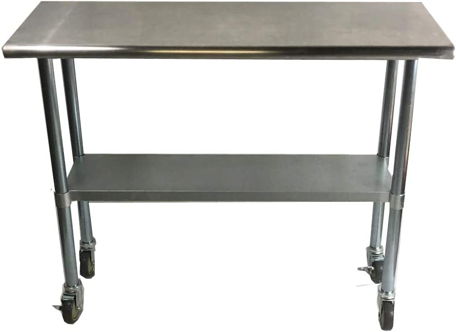KPS Commercial Stainless Fresno Mall Steel New arrival Work Prep with Table 48 Whee x 18