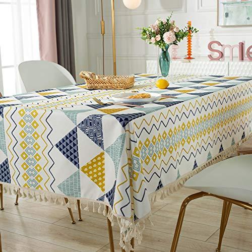 Textiles para el hogar estilo rústico moderno vintage hecho a mano mantel encaje mantel bordado blanco manteles Cover140x200cm