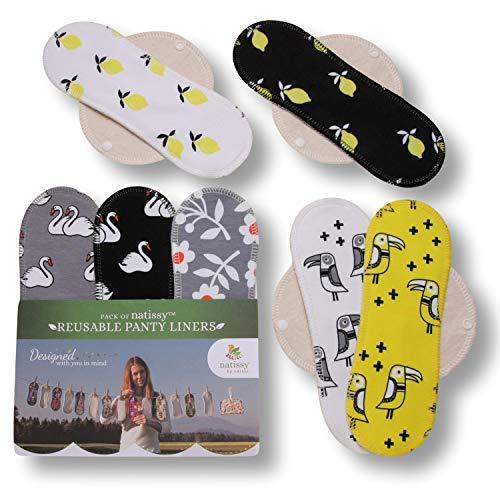 Natissy Salvaslips de tela reutilizables, 7-Pack Protege Slips de algodón ORGÁNICO con alas HECHAS EN LA UE, Compresas sin PUL, Toallas Sanitarias para uso diario y flujo blanco, NO para menstruación
