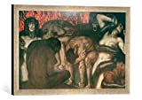Gerahmtes Bild von Franz Von Stuck Inferno, Kunstdruck im hochwertigen handgefertigten Bilder-Rahmen, 60x40 cm, Silber Raya