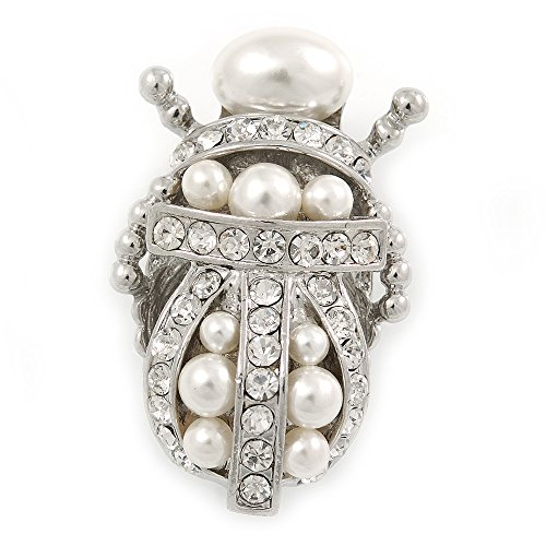 Avalaya Clear Crystal/Simulated Pearl Egyptian 'Scarab' Beetle Brooch in Rhodium Plating - 45mm L