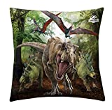 Halantex Jurassic World - Dinosaurier Kissen, 40x40 cm, Dino T-Rex Kopfkissen