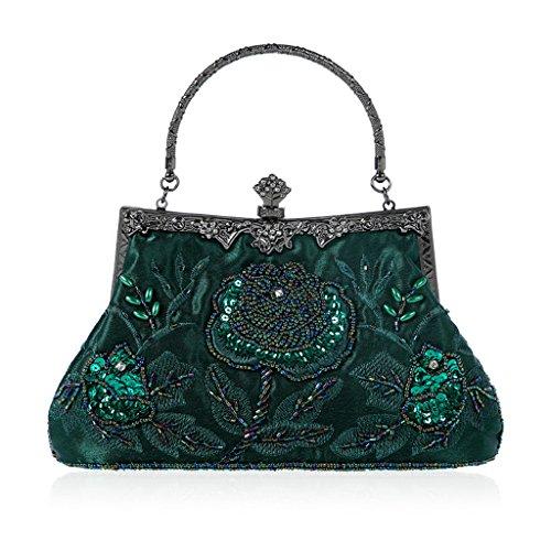 Cuigu Abendtasche - Perlen Floral Clutch Bag, Bankett Tasche Retro Handtasche für Party Hochzeit Prom Abendveranstaltungen, für Damen (Dunkelgrün)