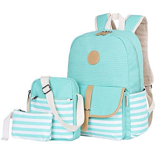 BLUBOON Teens Canvas Backpack Girls School Bags Set Bookbags Shoulder bag Pouch 3 in 1 (Water Blue)