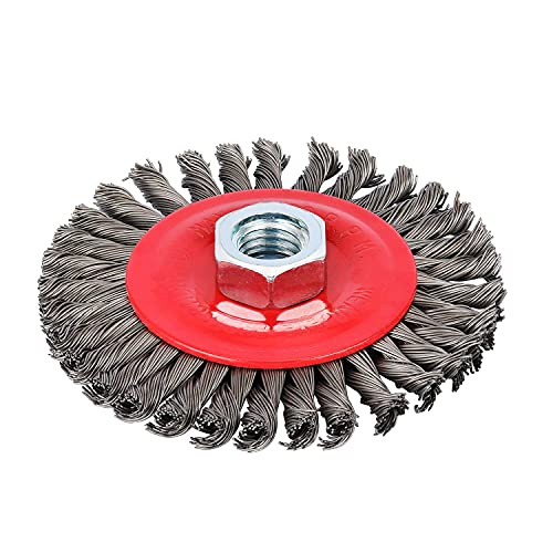 Makitoyo 4 inch Wire Wheel Brush for Angle Grinder, 5/8-Inch-11 Threaded Arbor, 0.002in Carbon Steel for Rust Removal, Abrasives, Stripping
