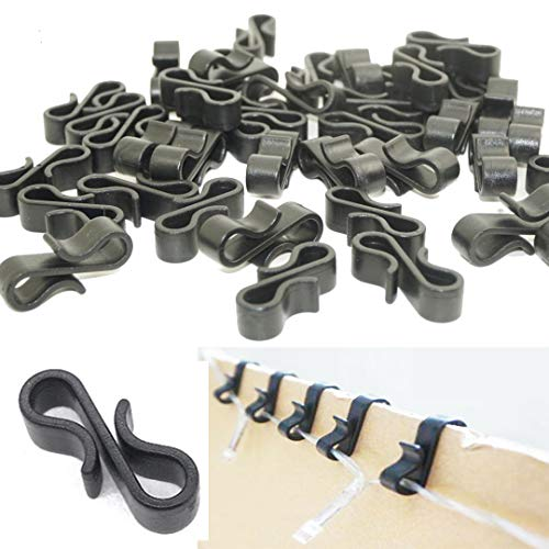 Starlife 115Pcs Gutter Hooks Clips for Outdoor Christmas Lights, Mini S Clips Hangers for Xmas Icicle Fairy String Lights Decoration Tile Roof External Plastic (Black)