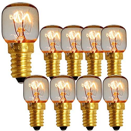 Confezione da 10 lampade pigmeo con tappo a vite SES E14 300 gradi Lampadina nominale per forno a microonde Lampadine per sale (Brass 15w)