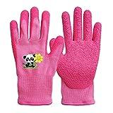 QEAR Safety Gartenhandschuhe für Kinder von 3 bis 6 Jahren, Handfläche aus Gummi, widerstandsfähig gegen Wasser und Schmutz, rosa