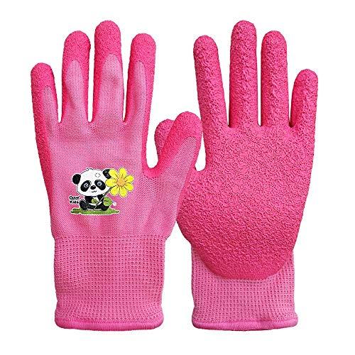 QEAR Safety - Guantes de jardinería para niños de 3 a 6 años, palma de goma para resistencia al agua y a la suciedad (3 a 6 años, piña)