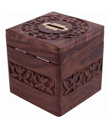 WhopperIndia Hölzerne Münzen Aufbewahrungsbox, Spardose mit Carving Arbeit Sparschwein für Kinder. Geld Aufbewahrungsbox, braune Farbe 4 X 4 Zoll