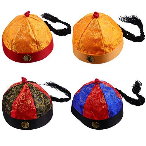 SOIMISS 4 Piezas Chino Tang Emperador Captradition Sombrero Chino con Trenzas Tang Emperador Cosplay Disfraz Ao Nuevo Chino Foto Prop para Adultos