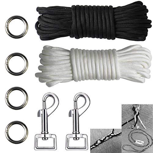 aufodara 8 Stücke Flechten Hundeleine DIY Set - 2X Karabinerhaken - 4X Metall Ringe - 2X 7Meter Nylonseil 7 Kern-Strängen (Für kleine Hunde bis 16 kg, schwarz weiß)