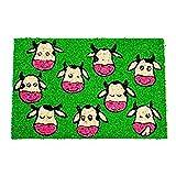 Home Line Felpudo Divertido/Original Antideslizante para Entrada, Realizado en Coco Natural. Diseño de Vacas Alegres 60x40x1,5 cm. - C
