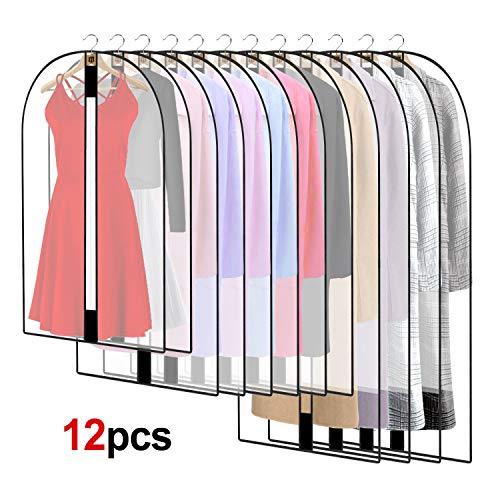 12 Stück Transparente Kleidersack Kleiderhüllen Abdeckung mit Reißverschluss, Kleiderschutzhüllen Jacke Mantel Kleider Abendkleider Anzug Schutz Kleiderhulle Anzughulle Anzugsack Durchscheinende
