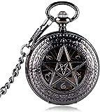 Reloj de Bolsillo Negro Hora Serie de TV Caliente Pentagrama Sobrenatural Mecánico Mano Viento Patrón de Corona Reloj de Bolsillo Steampunk Regalos para la Familia