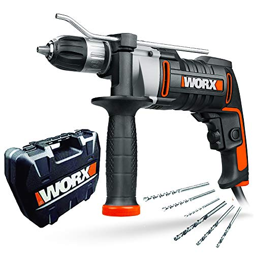 WORX WX318 Schlagbohrmaschine 810W mit robustem Metall-Getriebegehäuse, stufenloser Drehzahlregulierung, Tiefenanschlag, werkzeuglosem Bohrfutter uvm. – Exaktes Bohren in Holz, Beton & Stahl